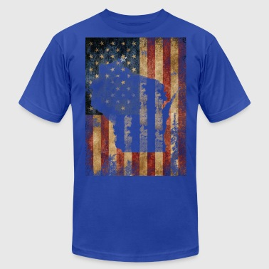 Wisconsin USA Flag Milwaukee Mart Clothing Apparel - Men's Fine Jersey T-Shirt
