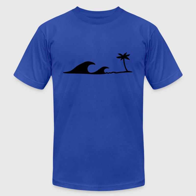 Waves on the Beach, waves on the beach under palm trees  - Men's Fine Jersey T-Shirt