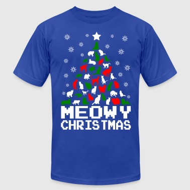 Meowy Christmas Cat Tree Ugly - Men's Fine Jersey T-Shirt