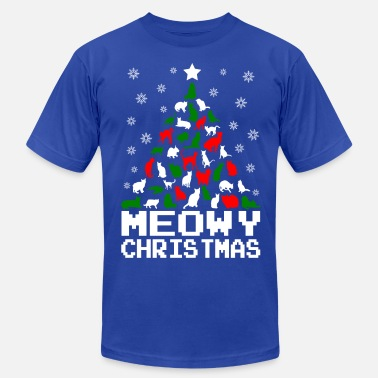 27fffe8a4 Meowy-christmas-cat-tree-ugly-... Meowy Christmas Cat. Men's Jersey T-Shirt