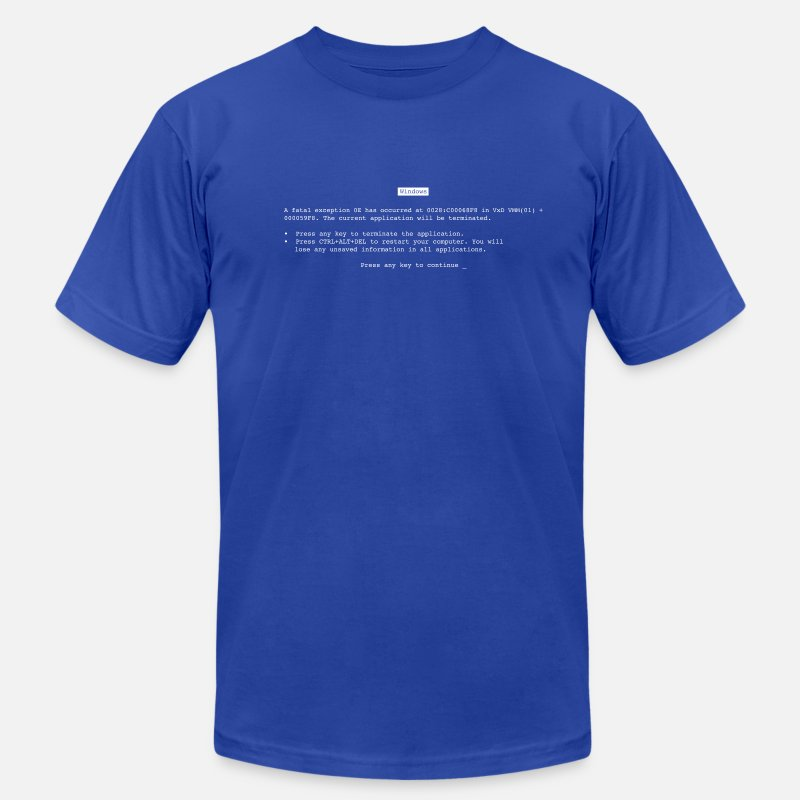 Death T-Shirts - Blue Screen of Death (BSOD) - Men's Jersey T-Shirt royal blue