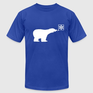 Winter Polar bear, calls for ice, snow flake Global Warming - Men's Fine Jersey T-Shirt