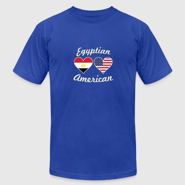 Egyptian Flag Egyptian American Flag Hearts - Men's Fine Jersey T-Shirt