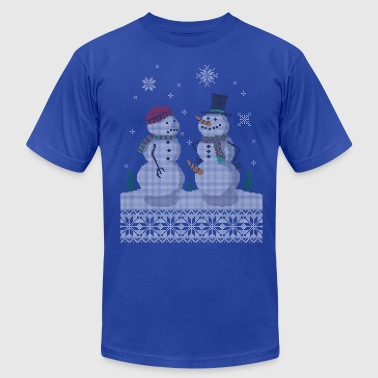 UGLY HOLIDAY SWEATER HAPPY SNOWMAN CARROT THIEF - Men's Fine Jersey T-Shirt