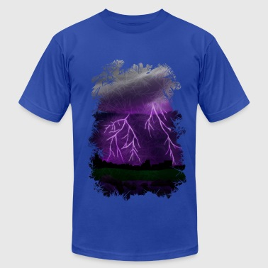Purple Lightning Scene - Men's Fine Jersey T-Shirt