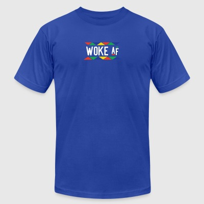 Woke af - Tribal Design (White Letters) - Men's T-Shirt by American Apparel