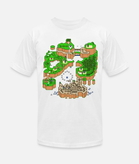 8 Bit T-Shirts - Super Mario World Map - Unisex Jersey T-Shirt white