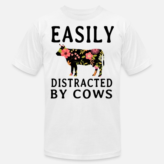 Cow T-Shirts - easily distracted by cow t shirts - Men's Jersey T-Shirt white