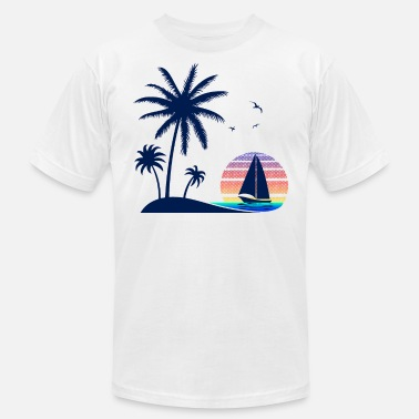Coconut Tree Vintage Beach Sunset Down the Coconut Trees - Men's Jersey T-Shirt