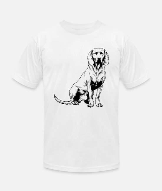 Paw T-Shirts - Bavarian Mountain Scent Hound Sketch Cute Pet Dog - Unisex Jersey T-Shirt white