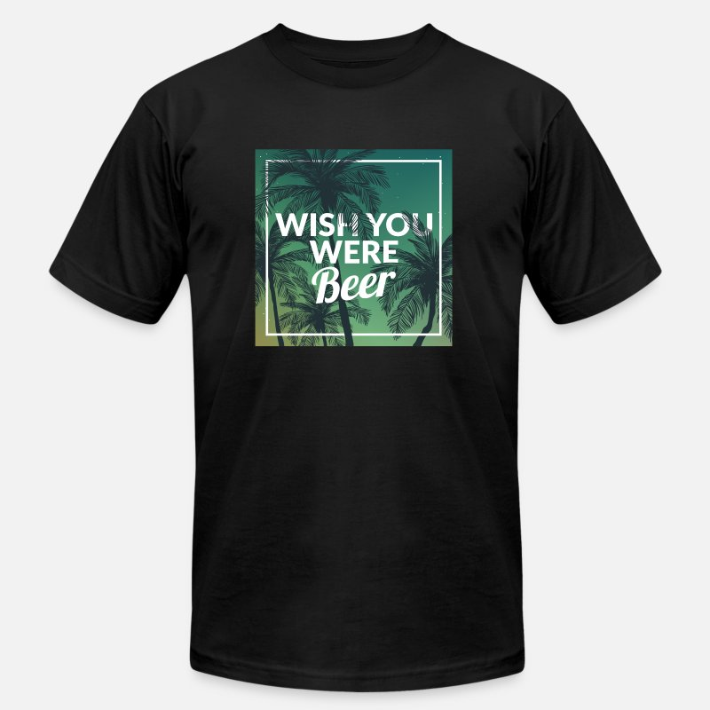 7f247443 Funny Wish You Were Beer Drinking Pun & Joke Men's Jersey T-Shirt |  Spreadshirt