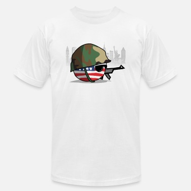 Usa Soldier AmericaBall Soldier Protecting USA - Men's  Jersey T-Shirt