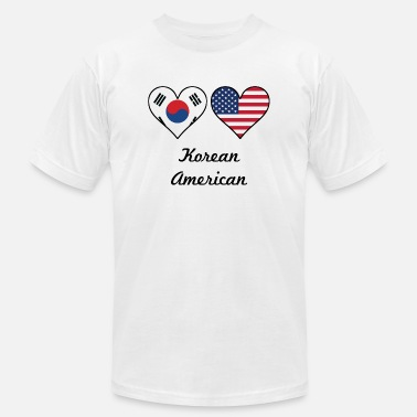 South Korean American Flag Korean American Flag Hearts - Men's  Jersey T-Shirt