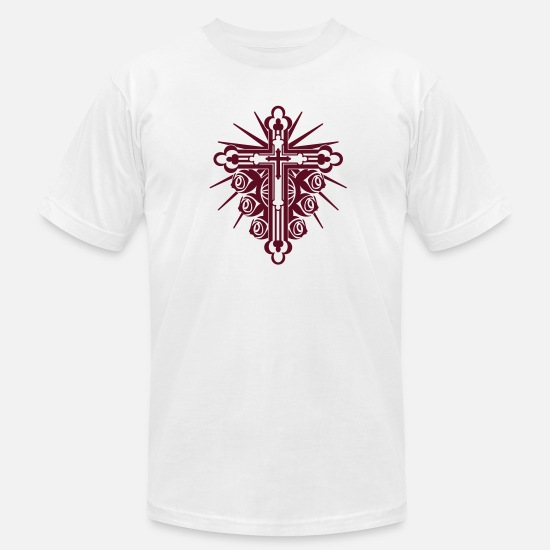 Cool Christian T-Shirts - Ornate Cross with Roses 1 Color - Men's Jersey T-Shirt white