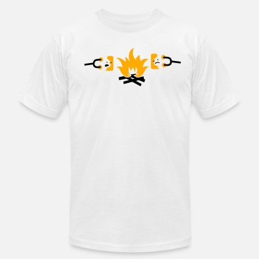 Campfire Marshmallow roasting sad marshmallows on a campfire - Men's  Jersey T-Shirt