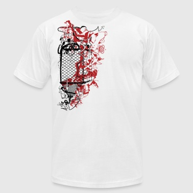 Fence Designs cool designer graffiti fence art - Men's Fine Jersey T-Shirt