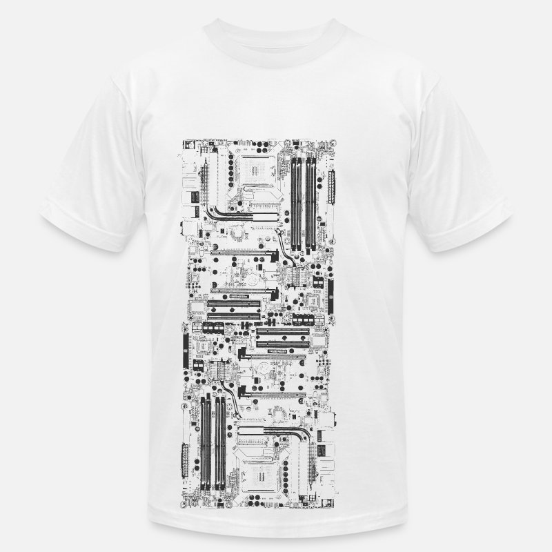 Geek T-Shirts - Computer motherboard Design - Men's Jersey T-Shirt white