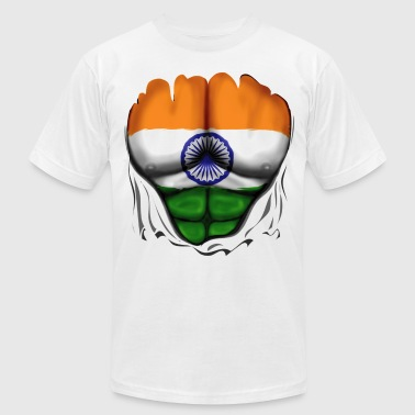 India Flag Ripped Muscles, six pack, chest t-shirt - Men's Fine Jersey T-Shirt