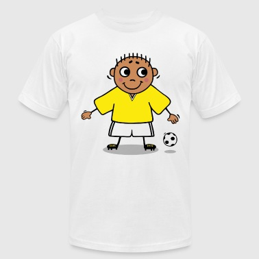Soccer player - yellow and white jersey - Men's Fine Jersey T-Shirt
