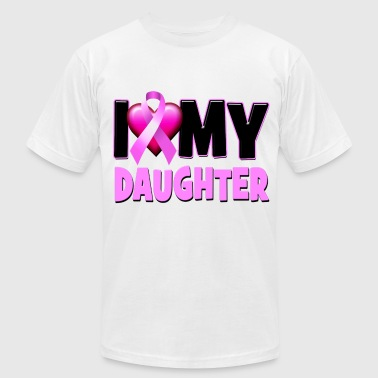 I Love My Daughter Breast Cancer Awareness - Men's Fine Jersey T-Shirt