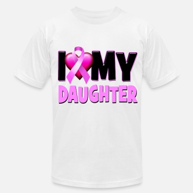 For My Daughter With Breast Cancer I Love My Daughter Breast Cancer Awareness - Men's Fine Jersey T-Shirt