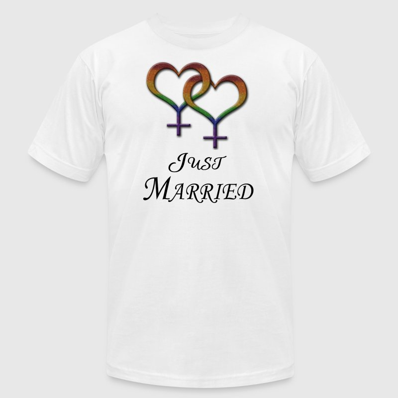Just Married Lesbian Pride - Men's Fine Jersey T-Shirt