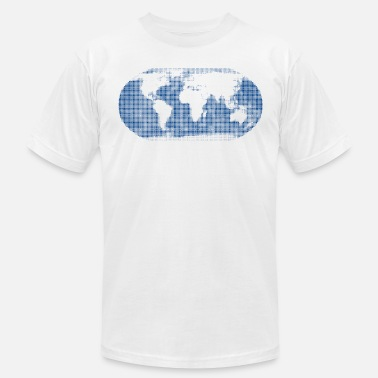 Blue World world map blue - Men's  Jersey T-Shirt