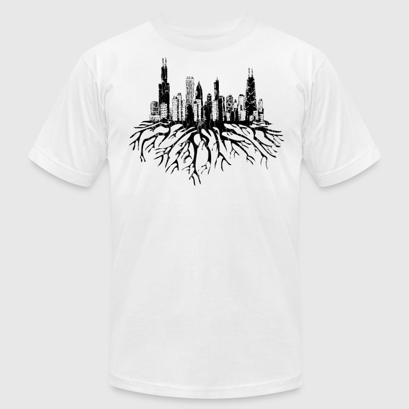 Chicago Skyline Silhouette Vector with Roots Tee - Men's Fine Jersey T-Shirt
