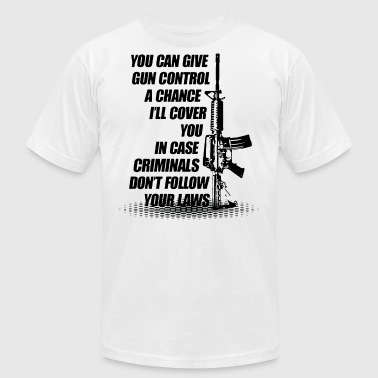 Combat Controller You can give gun control a chance i'll cover you i - Men's Fine Jersey T-Shirt