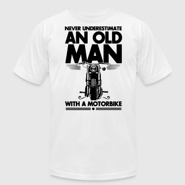never underestimate an old man with a motorbike - Men's Fine Jersey T-Shirt