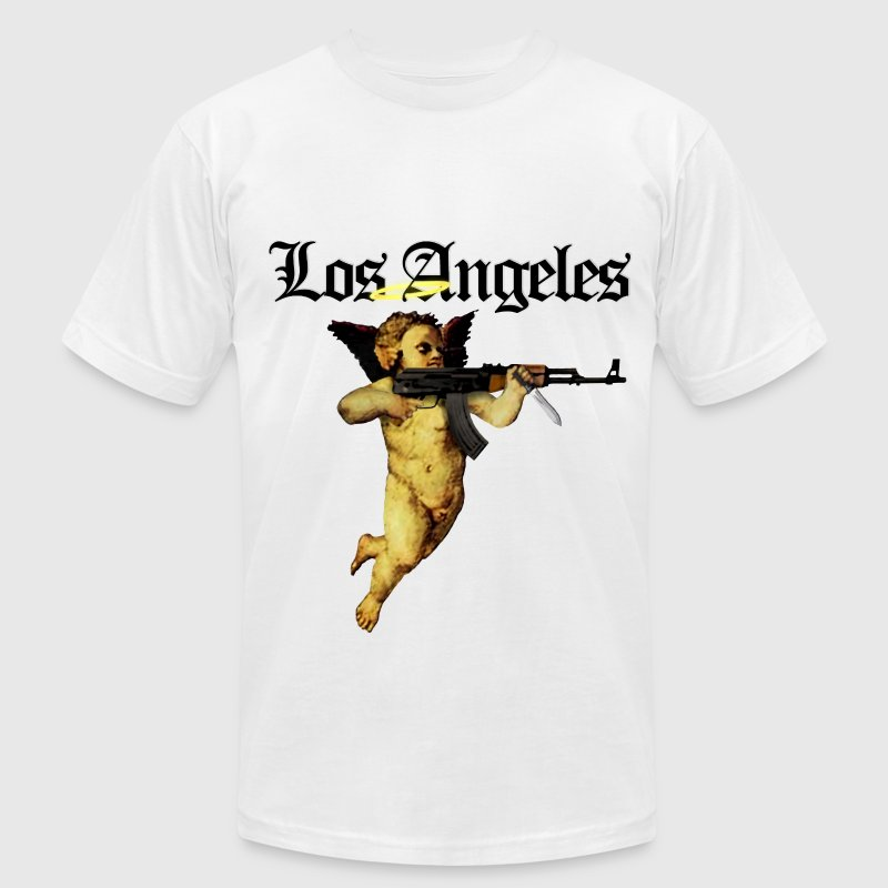 Los Angeles  Angel with AK 47 - Men's Fine Jersey T-Shirt