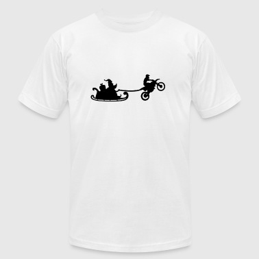Santa Christmas Sleigh with his MotoCross - Men's Fine Jersey T-Shirt