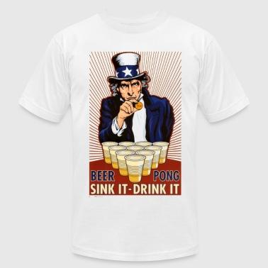 Uncle Sam Beer Pong - Men's Fine Jersey T-Shirt