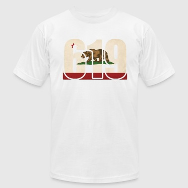 619 California Area Code Bear Flag - Men's Fine Jersey T-Shirt
