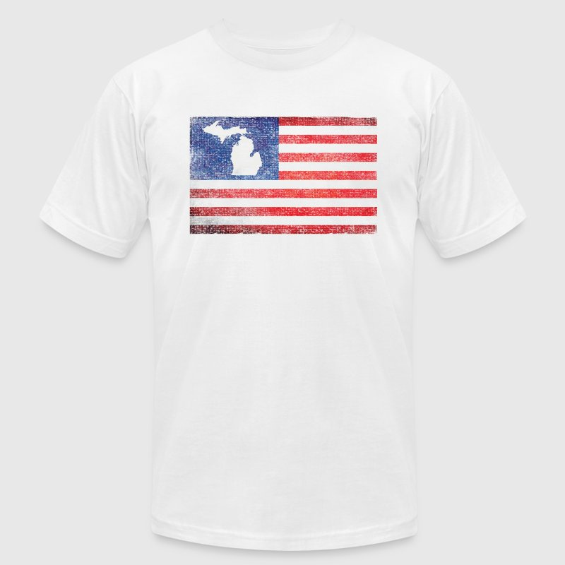 Michigan Mitten USA Flag Stars Stripes - Men's Fine Jersey T-Shirt