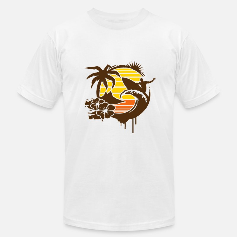 Surfing T-Shirts - Surfing graffiti - Palm, hibiscus, island, wave and surfer with surfboard  - Men's Jersey T-Shirt white