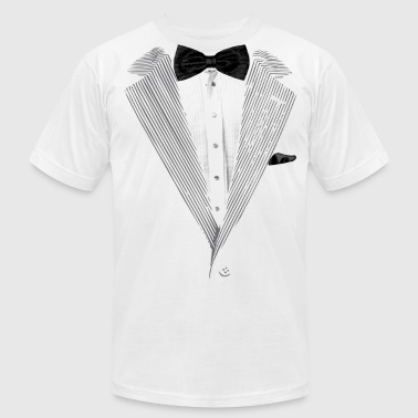 Classy Tux Realistic Tuxedo bow tie and sear sucker - Men's Fine Jersey T-Shirt