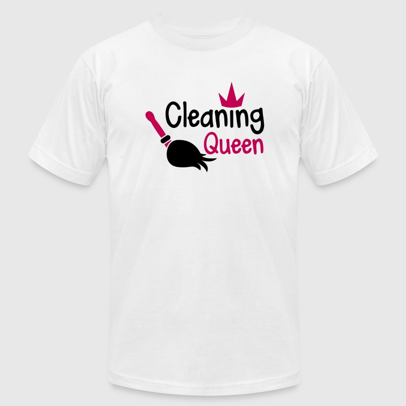 Cleaning QUEEN with a crown and sweeping broom - Men's Fine Jersey T-Shirt