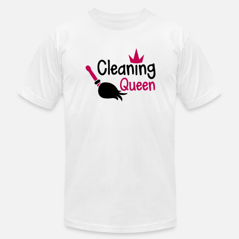 Dirty T-Shirts - Cleaning QUEEN with a crown and sweeping broom - Men's Jersey T-Shirt white