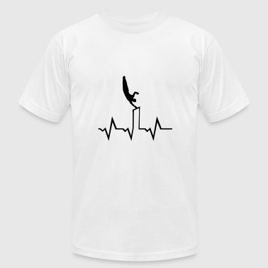 High Bar Gymnatics, Gymnast on high bar & ecg heartbeat - Men's Fine Jersey T-Shirt