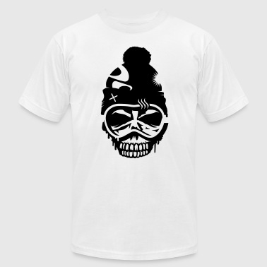 A skull with  snowboard goggles and a cap - Men's Fine Jersey T-Shirt