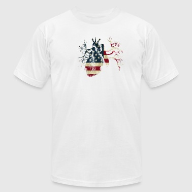 US Flag in Real Heart - Men's Fine Jersey T-Shirt