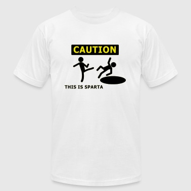 CAUTION this is sparta - Men's Fine Jersey T-Shirt