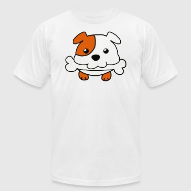Dog biting bone - Men's T-Shirt by American Apparel