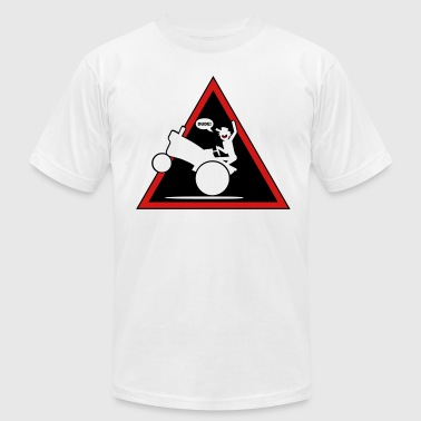 Tractor Wheelie Danger Triangle1l - Men's Fine Jersey T-Shirt