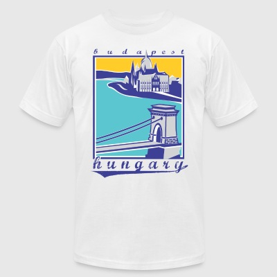 Budapest Chain Bridge, Hungary - Men's T-Shirt by American Apparel