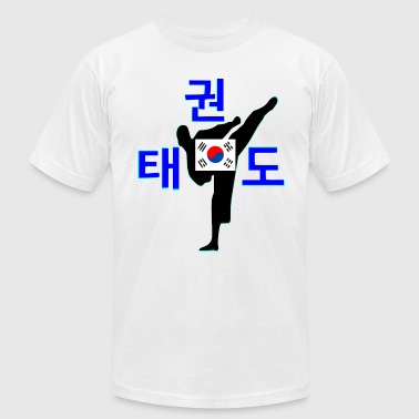 ۞»♥TaeKwonDo Player with a Soth Korea Flag♥«۞ - Men's Fine Jersey T-Shirt