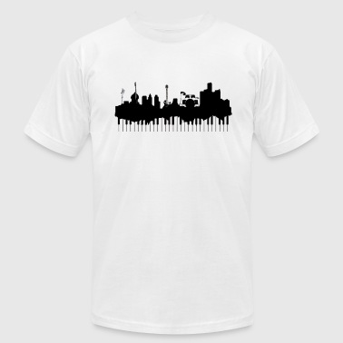 Detroit Music Skyline - Men's Fine Jersey T-Shirt