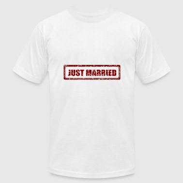Just Married Marriage Stamp Gift Present - Men's Fine Jersey T-Shirt