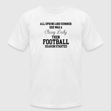 Football - She Was a Classy Lady Then Football S - Men's Fine Jersey T-Shirt